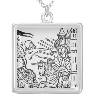 Crusading knights ride out to do Battle Square Pendant Necklace