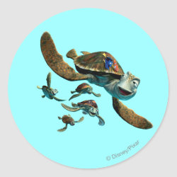 Round Sticker with Crush and Dory and Marin of Finding Nemo in the EAC design