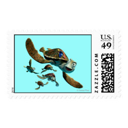 Medium Stamp 2.1' x 1.3' with Crush and Dory and Marin of Finding Nemo in the EAC design