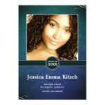 Crushed Peacock Double-Sided Graduation Card Custom Announcements