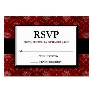 "Crushed Red Velvet 3.5x2.5""RSVP Response Card Large Business Cards (Pack Of 100)"