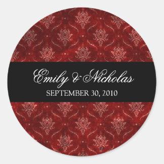 Crushed Red Velvet Elegant Wedding Invitation Seal