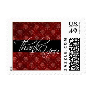 Crushed Red Velvet Elegant Wedding Thank You Stamp