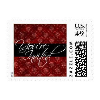 Crushed Red Velvet Elegant Wedding You're Invited Stamp