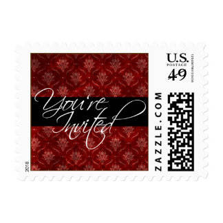 Crushed Red Velvet Elegant Wedding You're Invited Postage Stamp