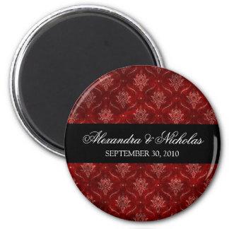 Crushed Red Velvet Wedding Favor Magnet (round)