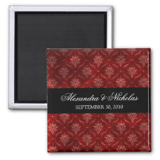 Crushed Red Velvet Wedding Favor Magnet (square)