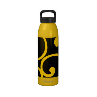 Crushed Velvet Swirls in Suggestive Saffron Reusable Water Bottles