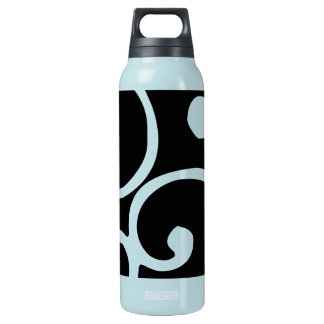 Crushed Velvet Swirls in Tantalizing Teal Insulated Water Bottle