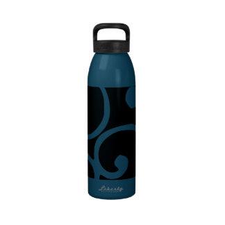 Crushed Velvet Swirls in Tantalizing Teal Reusable Water Bottle