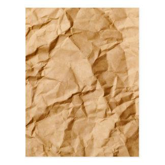Crushed Wrinkled Brown Paper Grunge Background Postcard