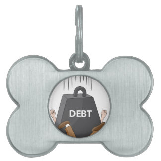 Crushing Debt Cartoon Anvil Pet Tag