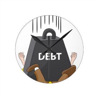 Crushing Debt Cartoon Anvil Round Clock