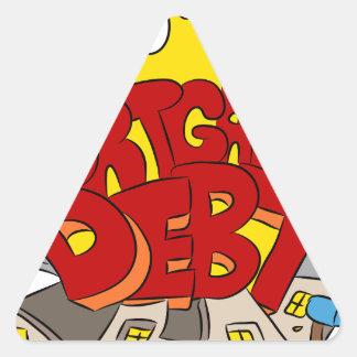 Crushing Mortgage Debt Cartoon Triangle Sticker