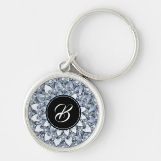 Crusted White Faux Diamonds Mandala With Monogram