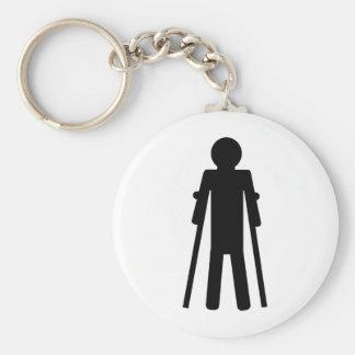 crutches man basic round button keychain