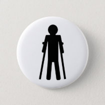 crutches man pinback button