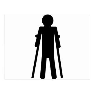 crutches man postcard