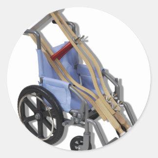 CrutchesWheelchair081210 Classic Round Sticker