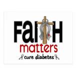 Cruz 1 de las materias de la fe de la diabetes tarjeta postal