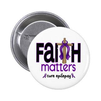 Cruz 1 de las materias de la fe de la epilepsia pin redondo de 2 pulgadas