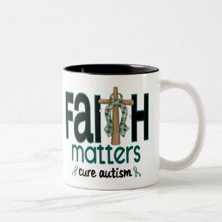 Cruz 1 de las materias de la fe del autismo taza