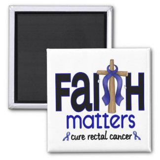 Cruz 1 de las materias de la fe del cáncer rectal imán cuadrado