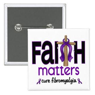 Cruz 1 de las materias de la fe del Fibromyalgia Pin Cuadrada 5 Cm