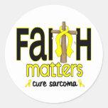 Cruz 1 de las materias de la fe del sarcoma etiqueta redonda