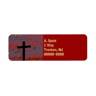 Cruz 2 de la puesta del sol etiqueta de remite
