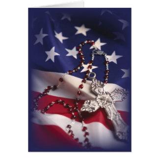 Cruz 3437 y bandera patrióticas felicitación