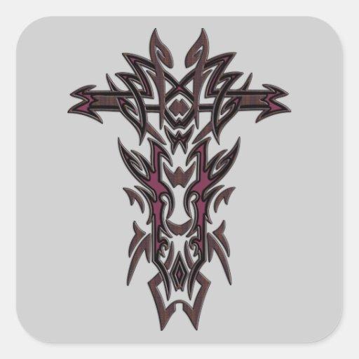 Cruz adornada cristiana 12 pegatina cuadradas