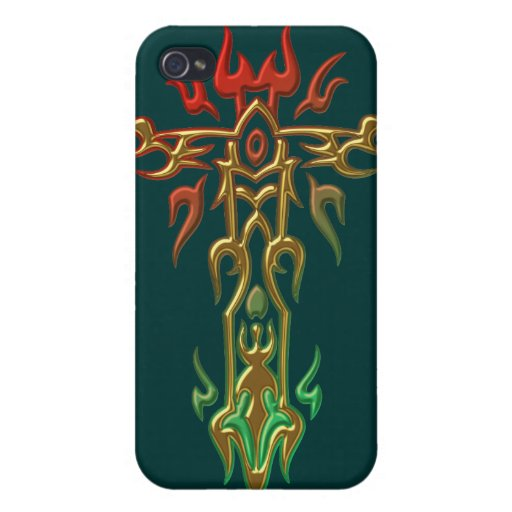 Cruz adornada cristiana 35 iPhone 4 carcasas