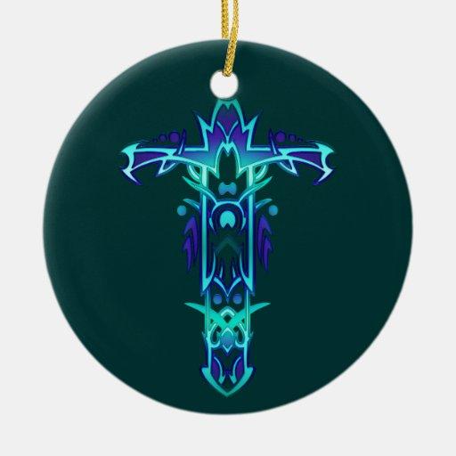 Cruz adornada cristiana 41 adorno navideño redondo de cerámica