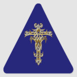 Cruz adornada cristiana 46 pegatina triangular