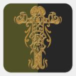 Cruz adornada cristiana 49 calcomanía cuadradas personalizadas