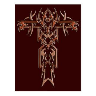 Cruz adornada cristiana 4 postal