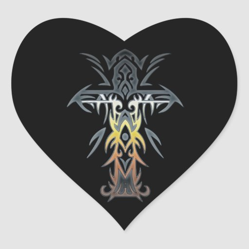 Cruz adornada cristiana 53 pegatina en forma de corazón