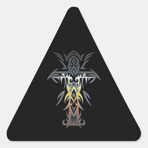 Cruz adornada cristiana 53 calcomanías de trianguloes personalizadas