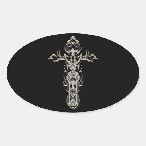 Cruz adornada cristiana 57 pegatina ovalada