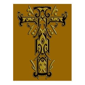 Cruz adornada cristiana 5 postal