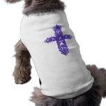 Cruz adornada cristiana 75 camiseta de perro