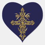 Cruz adornada cristiana 77 pegatina corazon