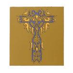 Cruz adornada cristiana 8 bloc de papel