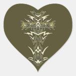 Cruz adornada cristiana calcomanía corazón