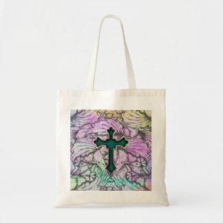 Cruz afiligranada floral colorida bolsas de mano