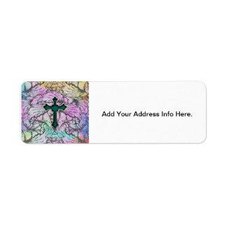 Cruz afiligranada floral colorida etiqueta de remite