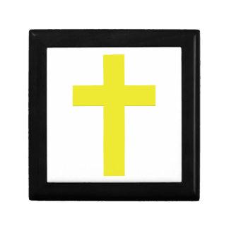 Cruz amarilla simple cristiana de la caja el | del joyero cuadrado pequeño