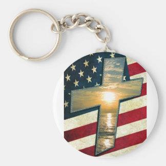 Cruz americana #1 llavero redondo tipo pin