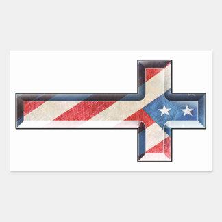 Cruz americana de la fe rectangular pegatina